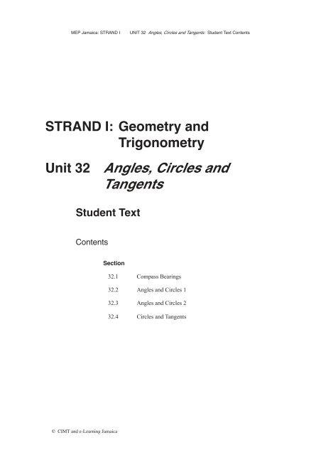 STRAND I: Geometry and Trigonometry Unit 32 Angles, Circles