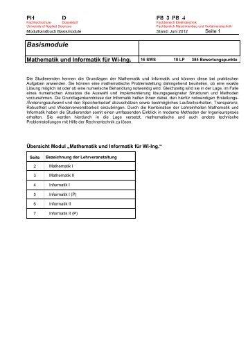 Basismodule - FB 4 Allgemein - Fachhochschule Düsseldorf