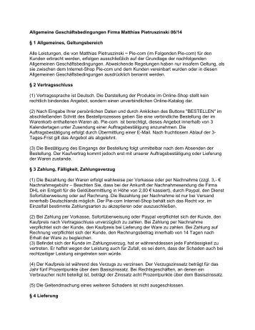 AGB zum speichern als PDF - Pie-com / Pietruszinski