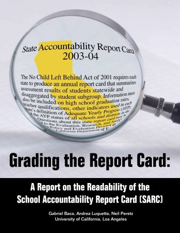 Grading the Report Card: - School Wise Press