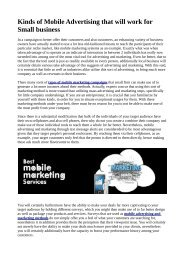 Kinds of Mobile Advertising that will work for Small business