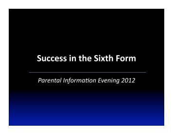 Success in the Sixth Form - King Edward VI School | Subject Sites