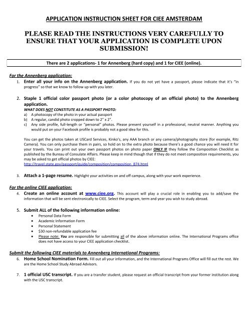 application instruction sheet for ciee amsterdam please read