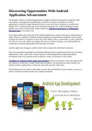 Discovering Opportunities With Android Application Advancement