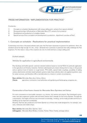 IMPLEMENTATION FOR PRACTICE - Paul Nutzfahrzeuge
