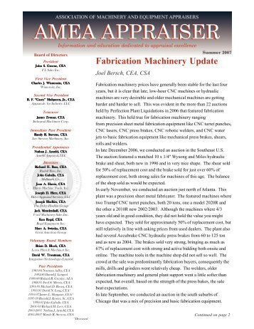 Summer 2007 - Association of Machinery and Equipment Appraisers