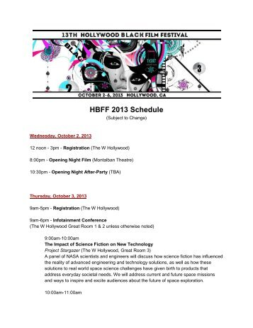 DOWNLOAD THE SCHEDULE - Hollywood Black Film Festival
