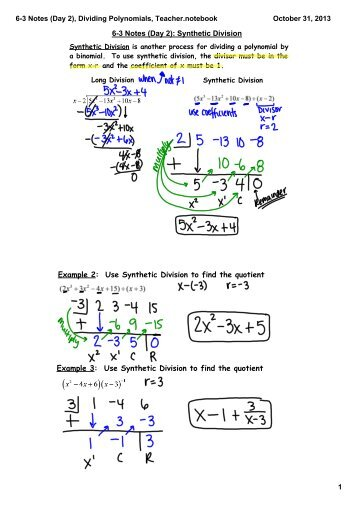 Lesson 9-4b: Polynomial Division – Synthetic Division
