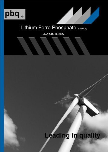 Lithium Ferro Phosphate Batteries www.pbq-batteries.com - Intercel