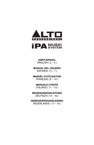 iPA Music System: User Manual, v1.3 - Alto Professional