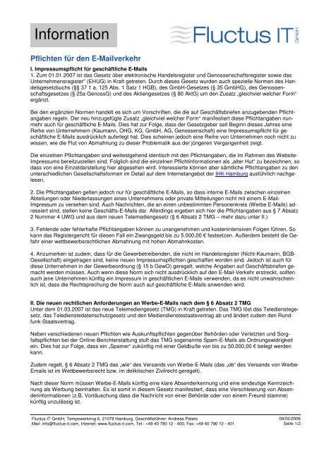 Pflichten im E-Mailverkehr ab 01.01.2007 - Fluctus IT GmbH