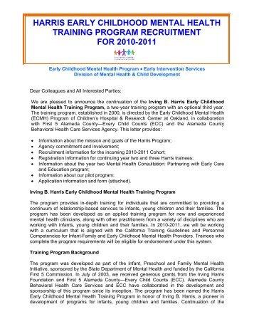 Harris Early Childhood Mental Health Training Program - 2011-2012