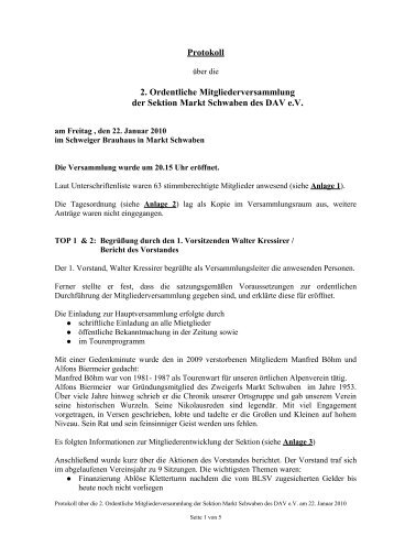 Protokoll Mitgliederversammlung 2010 - DAV Markt Schwaben