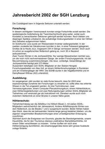 Jahresbericht 2002 der SGH Lenzburg