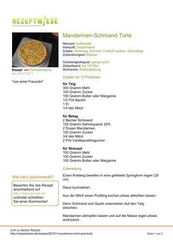 Mandarinen-Schmand-Torte - Rezeptwiese