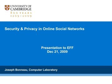 Security & Privacy in Online Social Networks - The Computer ...