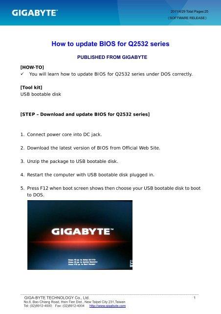 HOW-TO] How to update BIOS for q2532_en_cht_v2 - gigabyte