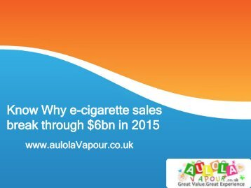 Know Why e-cigarette sales break through $6bn in 2015