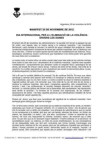 Manifest contra la violència vers les dones - Ajuntament d'Argentona