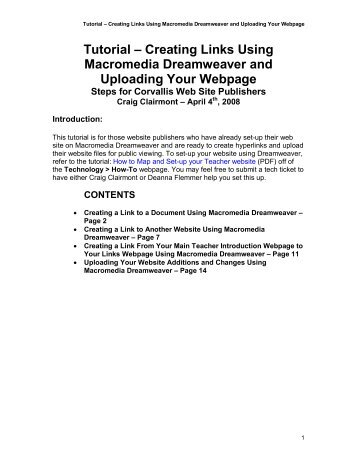Tutorial – Creating Links Using Macromedia Dreamweaver and ...