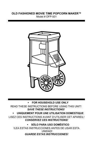 nostalgia popcorn maker instructions manual