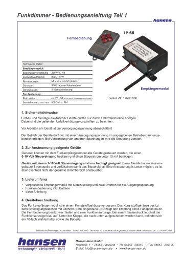 Funkdimmer - Bedienungsanleitung Teil 1 - Hansen-LED
