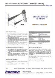 LED-Wandstrahler im V-Profil - Montageanleitung ... - Hansen-LED