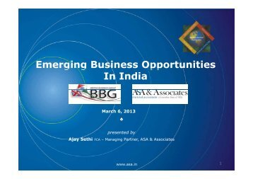 Emerging Business Opportunities g g pp In India - Asa.in