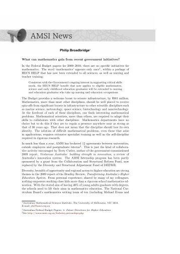 AMSI News - Gazette 35 Vol 2 - Australian Mathematical Society