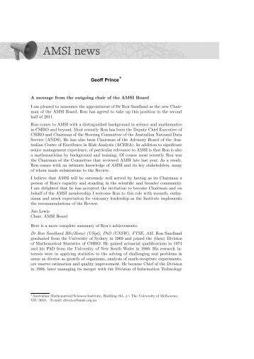 AMSI news - Australian Mathematical Society