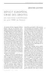 DÉFICIT EUROPÉEN, CRISE DES DROITES - Pouvoirs