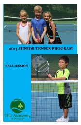 information on the 2013 Fall Junior Programs. - Pinnacle Country Club