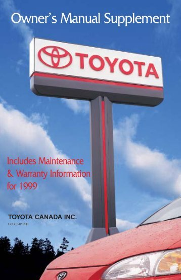 Owner's Manual Supplement - Toyota Canada