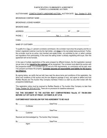 Participating co broker co brokers agreement final the auction way company platinumwayz