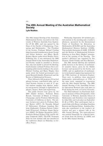 Gazette 32 Vol  5 - Australian Mathematical Society