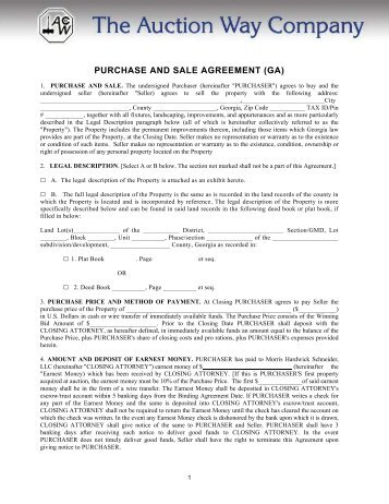Purchase And Sale Agreement (ga)   The Auction Way Company