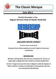The Classic Marque July 2011 - Jaguar Drivers Club of South Australia
