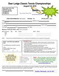 Entry form - Tennis Manitoba