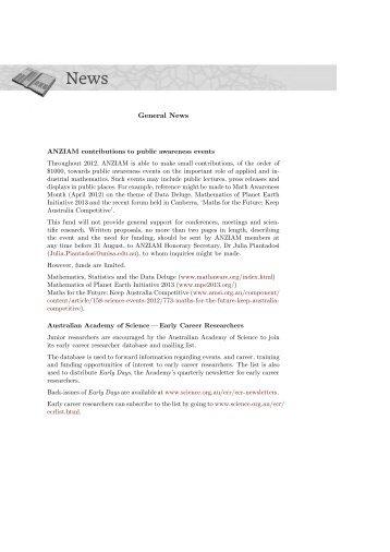 General News - Australian Mathematical Society