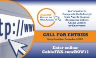 CaLL FOR ENTRIES - CableFax