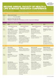 second annual faculty of health & life sciences research conference