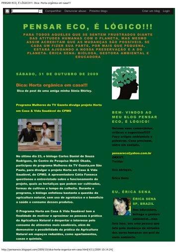 Programa Mulheres da TV Gazeta divulga projeto Horta em Casa ...