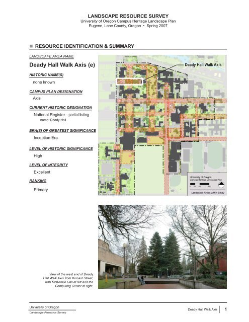 Deady Hall Walk Axis (e) - Campus Planning - University of ...
