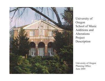 Project Description, June 2005 - Office of Planning - University of ...
