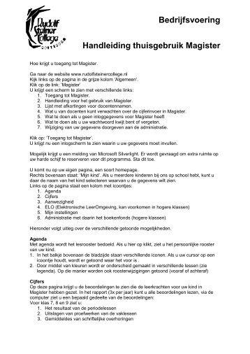 Handleiding voor het gebruik van Magister - Rudolf Steiner College ...