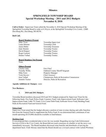 11-8-10 Budget Workshop - Springfield Township