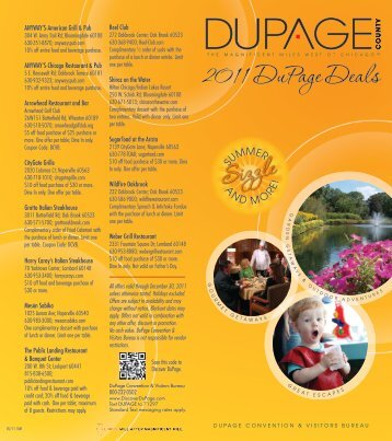 2011 DuPage Deals - DuPage Convention & Visitors Bureau
