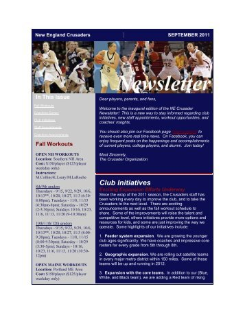 SEPTEMBER 1, 2011 nEWSlETTER - New England Crusaders