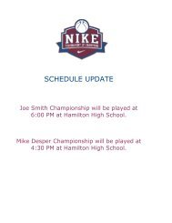 SCHEDULE UPDATE - Tournament of Champions