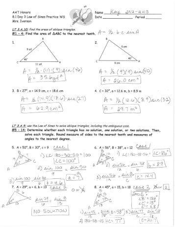 Law of Sines & Cosines worksheet by Sarah Dragoon | TpT